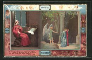 Lithographie Divina Commedia, Con l`ali aperte che parean..., Dante