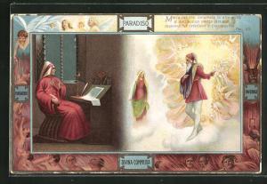 Lithographie Divina Commedia, Maria mi diè, chiamata in alte grida..., Dante