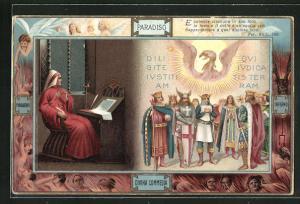 Lithographie Divina Commedia, Equietata ciascuna in suo loco..., Dante