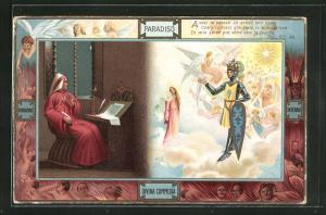 Lithographie Divina Commedia, Assai m`amastio ed avesti ben onde..., Dante