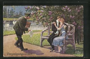 Künstler-AK Arthur Thiele: Steuerquellen - Vergnügungssteuer, Scherz, Liebespaar und Amtsmann