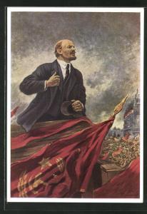 Künstler-AK A. M. Gerassimo: Lenin auf der Tribüne
