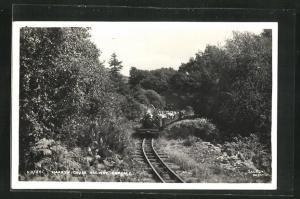 AK Eskdale, Englische Kleinbahn Narrow Gauge Railway in einer Kurve