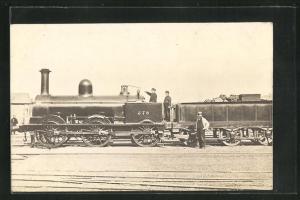 AK englische Eisenbahn mit Kennung 578 und Lokführern