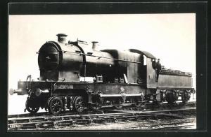 AK englische Eisenbahn, 2601, Lokomotive mit Kohletender und Zugführer