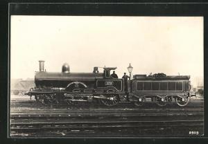AK englische Eisenbahn, 173, City of Manchester, Lokomotive mit Kohlentender und Zugführer