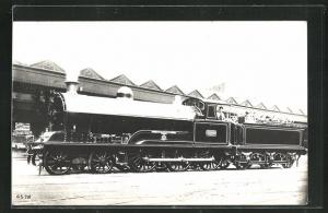 AK englische Eisenbahn, 1987, Glendower, Lokomotive mit Kohlentender und Zugführer
