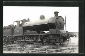 AK englische Eisenbahn, 1630, Lokomotive mit Kohlentender und Zugführer