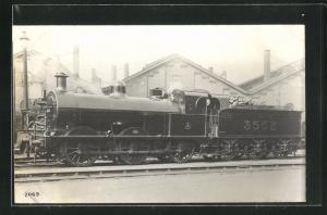 AK englische Eisenbahn mit Kennung 3552 und Bauschutt im Waggon