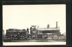 AK englische Eisenbahn mit Kennung 653 und Lokführern