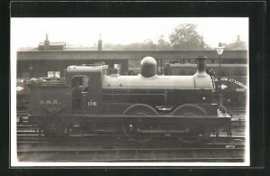 AK englische Eisenbahn der Gesellschaft GNR mit Kennung 116 im Bahnhof