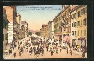 AK Biel / Bienne, Parade auf der Dufourstrasse
