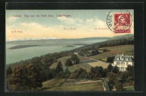 AK Evilard / Leubringen, Vue sur les trois lacs