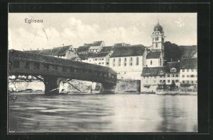 AK Eglisau, Ortspartie an der Flussbrücke