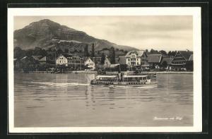 AK Immensee, Ortspartie mit Fähre und Rigi am Seeufer
