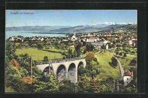 Künstler-AK Goldach, Totalansicht mit Viadukt und Blick auf den Bodensee