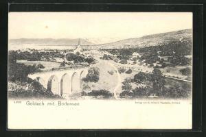 AK Goldach, Ortspanorama mit Viadukt und Bodensee