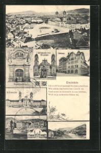 AK Einsiedeln, Stiftskirche, Rathaus, Gnadenkapelle, Totalansicht