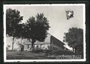 AK Biel, Kurhaus Bözingenberg mit Schweizer Flagge