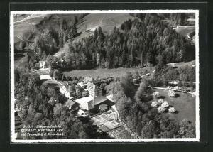 AK Appenzell, Kurhaus Weissbad mit Tennisplatz & Strandbad vom Flugzeug aus