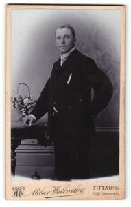 Fotografie Walbrecher, Zittau i/S., Mann im Anzug stehend mit Arm auf dem Rücken