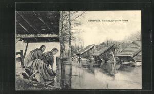 AK Bétheniville, Waschhäuser an der Suippe, Waschfrauen