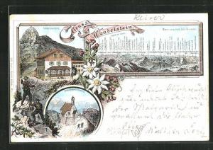 Lithographie Wendelsteinhaus und Wendelsteinkirchlein, Panorama vom Wendelstein