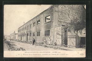 AK Ay, Révolution en Champagne Avril 1911, Maison Deutz Geldermann