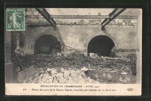 AK Ay, Révolution en Champagne Avril 1911, Entrée des caves de la Maison Ducoin