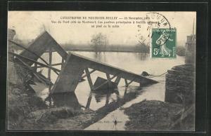 AK Montreuil, Eisenbahnkatastrophe von Montreuil-Bellay 1911, eingestürtzte Brücke