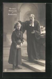 Foto-AK NPG Nr. 199 /2: Glückwunsch zur Konfirmation, Pfarrer segnet eine Konfirmandin