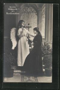 Foto-AK NPG Nr. 1322: Glückwunsch zur Konfirmation, Engel segnet eine Konfirmandin