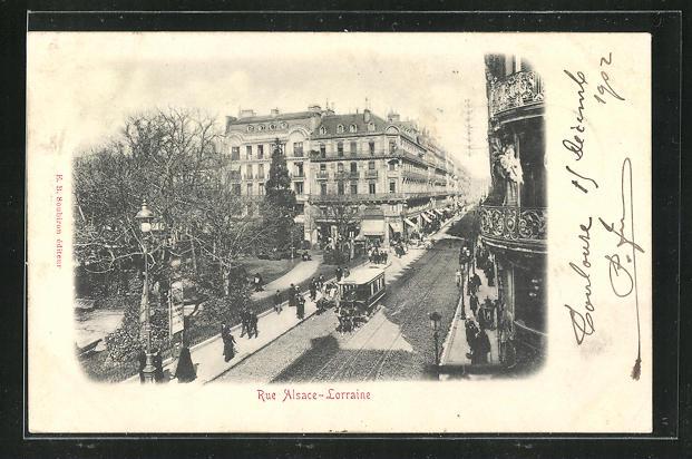 AK Toulouse, Rue Alsace-Lorraine, Pferdebahn 0