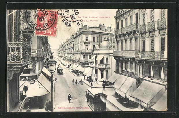 AK Toulouse, La Rue Alsace-Lorraine, Carrefour de la Pomme, Pferdebahn 0
