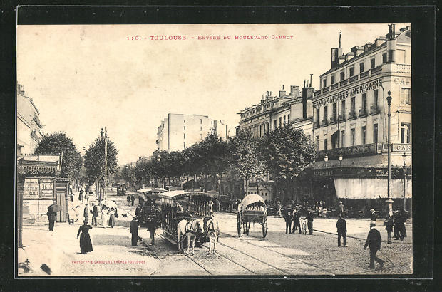 AK Toulouse, Pferdebahn auf dem Boulevard Carnot, Grand Cafe des Americains 0