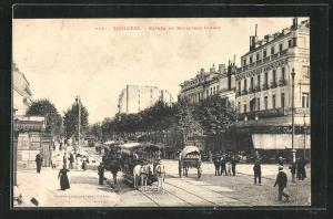 AK Toulouse, Pferdebahn auf dem Boulevard Carnot, Grand Cafe des Americains