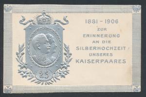 Relief-AK Kaiser Wilhelm II. mit Gattin, zur Erinnerung an die Silberhochzeit des Kaiserpaares 1906