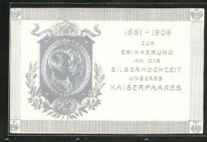 Relief-AK Kaiser Wilhelm II. mit Gemahlin, zur Erinnerung an die Silberhochzeit des Kaiserpaares 1906