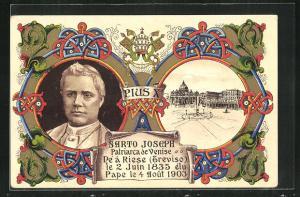 Künstler-AK Papst Pius X. Portrait, Ansicht vom Apostolischen Palast