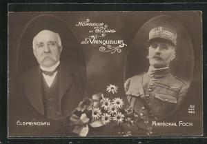AK Clemenceau und Marechal Foch in Portraits