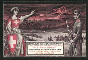 Künstler-AK schweizer Soldat und Göttin mit Schild und Schwert blicken auf ein Schlachtfeld