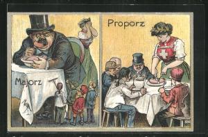 Künstler-AK Arbeiterbewegung, Majorz, wütendes Volk vor einem grossen am Tisch essenenden Mann, Proporz