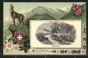 Passepartout-Lithographie Alpenpost, Geisbock, Wappen