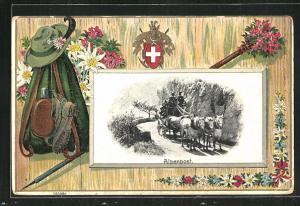Passepartout-Lithographie Alpenpost, Jägerausrüstung, Wappen