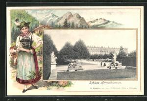 Passepartout-Lithographie Herrenchiemsee, Schloss, Frau in Tracht