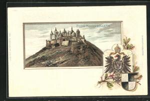 Passepartout-Lithographie Burg Hohenzollern, Wappen