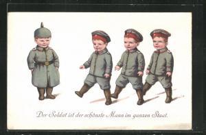 Künstler-AK Kinder Kriegspropaganda, niedliche Kindersoldaten in Uniformen