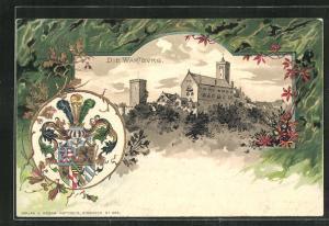 Passepartout-Lithographie Eisenach, Blick auf die Wartburg, Wappen