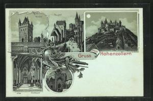 Mondschein-Lithographie Burg Hohenzollern, Grafensaal, Adlerthor, Thorturm