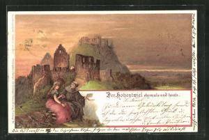 Lithographie Ruine Hohentwiel im Abendlicht